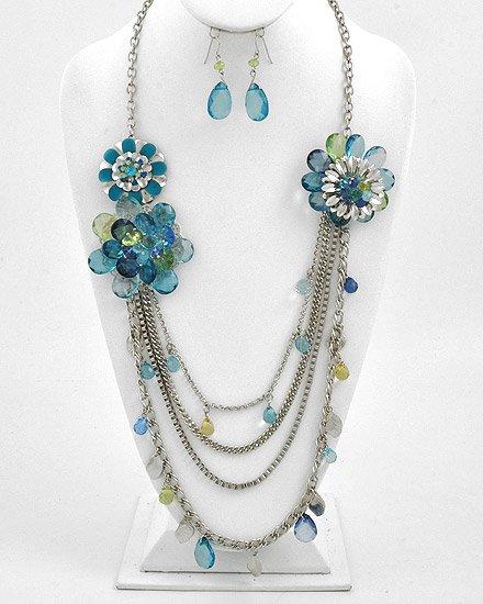 Silvertone Rhodium / Green Acrylic Multi Strand Flower Necklace Fish Hook Earring Set