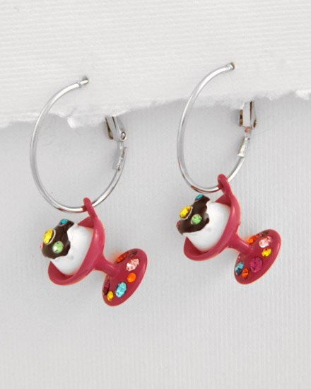 Silvertone Fuchsia Epoxy Multi Colored swarovski crystals Sundae ice cream Charm Post Earring Set