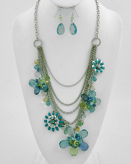Silvertone Rhodium / Teal Acrylics & Epoxy Flower Necklace & Fish Hook Earring Set