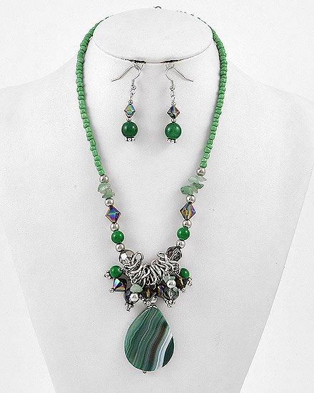 Silvertone / Green / Gemstone Hook (earrings) / Pendant / Necklace & Earring Set
