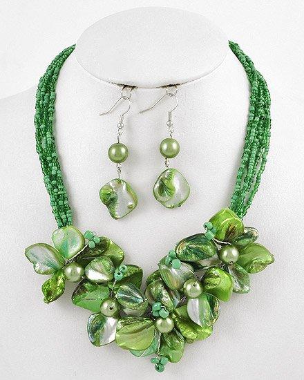 Silvertone Green Beads & Shell Hook earrings Multi Strands / Flower / Necklace & Earring Set