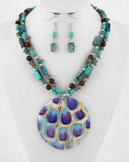 Silvertone / Blue / Shell / Wood Hook (earrings) / Pendant / Necklace & Earring Set