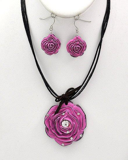 Silvertone Fuchsia Acrylic Black Cord Flower Pendant Multi Strand Necklace Fish Hook Earring Set