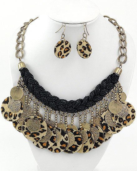 Burnished Gold Tone  Leopard Fabric Leopard Print Charm Necklace & Fish Hook Earring Set