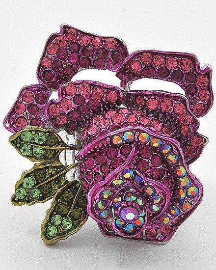 Rhodiumized / made with Fuchsia swarovski crystals / Flower / Stretch Ring