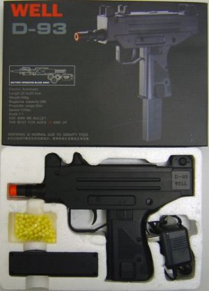 D93 Airsoft D93 Full Size Uzi Style Auto Electric Pistol