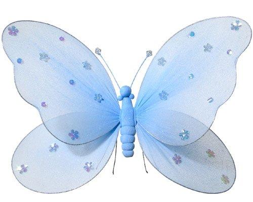 Fabric Butterflies - Girls Rooms Decor - Blue - Medium