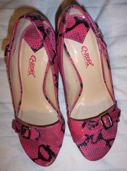 Pretty Pink and Black Open Toe Heels size 5