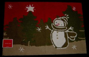 SNOWMAN Primitive Holiday Cotton Berber Rug-NEW 20x 30