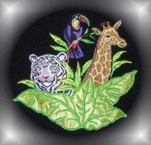 RAINFOREST Towel~TIGER GIRAFFE TOUCAN Black~Zebra Edge