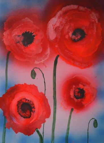 Rossi papaveri astratti in fiore