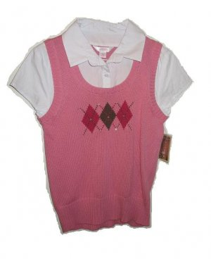 ARIZONA  Pink Argyle Sweater Vest Shirt L 14/16 NWT