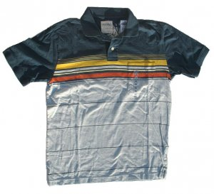 OLD NAVY Mens Vintage Polo Blue Gold S Small NWT