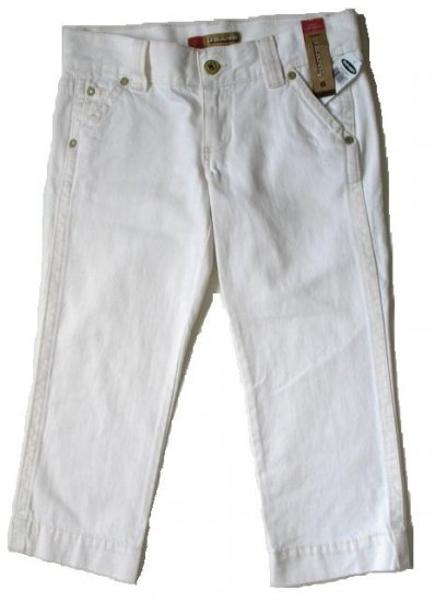 OLD NAVY White Denim Distressed Capri Pants 6 NEW (394112)