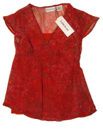 OH MAMMA Sheer Paisley Maternity Shirt/Camisole S Small NEW