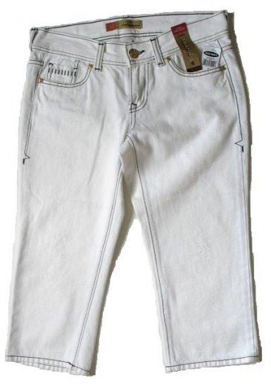 OLD NAVY White Denim Capri Pants Black Stitch 4 NWT