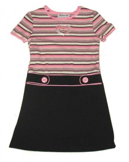 DISORDERLY KIDS Pink Black Heart Dress 5 NEW $35