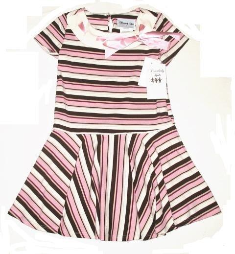 DISORDERLY KIDS Brown Pink Satin Ribbon Dress 4 NEW $35