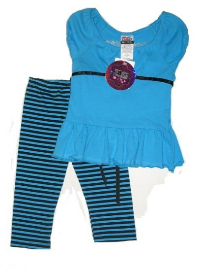 ZOEY GIRL 2pc Set Leggings Top Blue 4 NEW $35