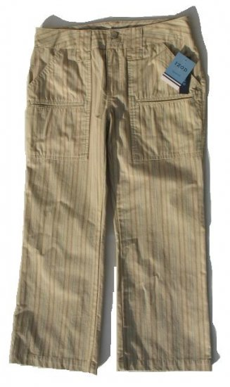 IZOD Key West Tan Stripe Capri Pants 8 NEW $43