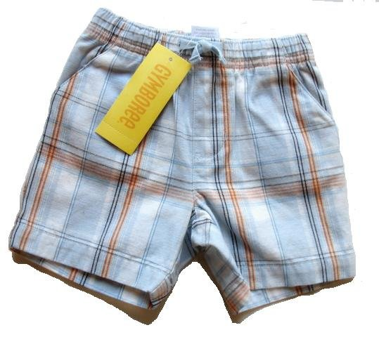 GYMBOREE Summer Safari Boys Blue Plaid Shorts 0 3 Mo NEW