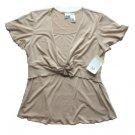 DUO Tan Wood Ring Maternity Top Shirt M NEW $30
