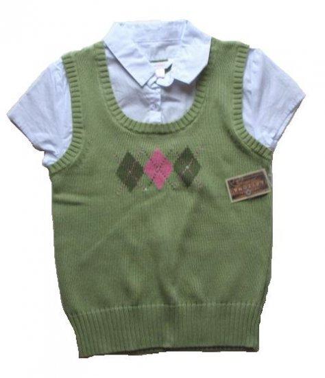 ARIZONA Girls Green Argyle Sweater Vest Shirt L 14 16 NEW