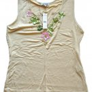 BOGARI Womens Tan Silk Bead Embellished Tank Top M NEW $90