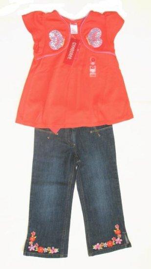 GYMBOREE Tea Garden Girls Shirt Top Jeans Set 8 NEW