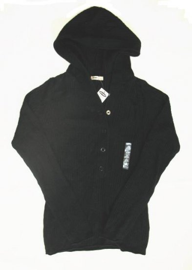 OLD NAVY Womens Black Angora Hoodie Sweater M 8 10 NEW