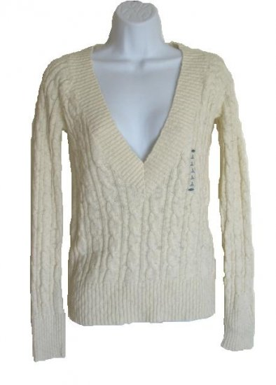 OLD NAVY Womens Cream Cable Knit Deep V Sweater M 8 10 NEW