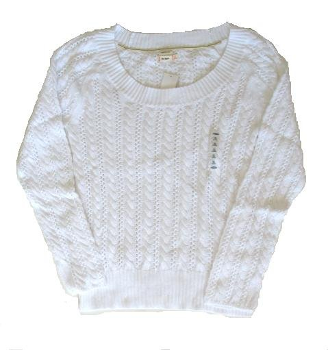 OLD NAVY Womens White Scoop Neck Loose Cable Knit Sweater XL 16 18 NEW