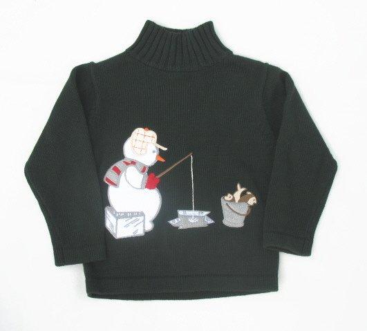 FROST Boys Green Winter Snowman Sweater 5 NEW