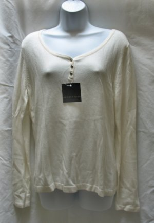 APOSTROPHE Womens Plus Off White Henley LS Sweater XL 18 20 NEW
