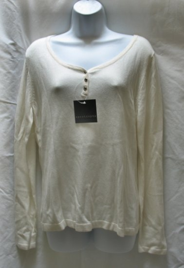 APOSTROPHE Womens Off White Henley Sweater M 10 12 NEW