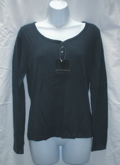 APOSTROPHE Womens Blue Henley Sweater S 6 8 NEW