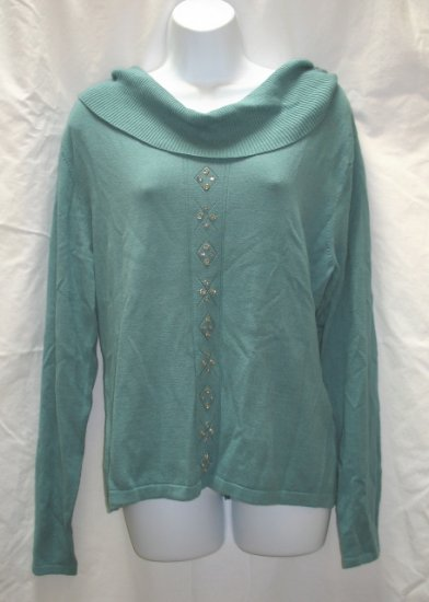 RENA ROWAN Womens Teal Broad Neck Sweater XL 16 18 NEW
