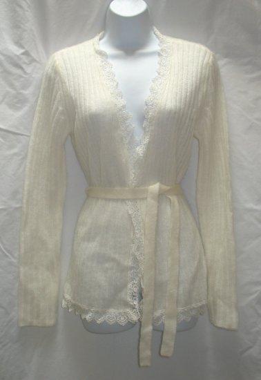 APOSTROPHE Womens Ivory Wrap Sweater Coat S 6 8 NEW