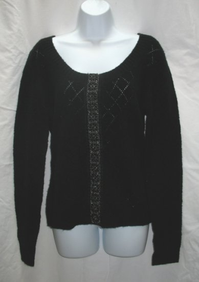 APOSTROPHE Womens Black Scoop Neck Cardigan Sweater L 14 16 NEW