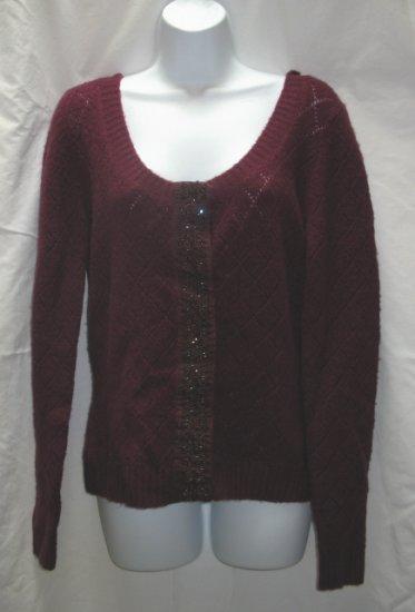 APOSTROPHE Womens Plum Scoop Neck Cardigan Sweater L 14 16 NEW