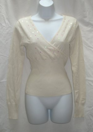 SAY WHAT Juniors Off White Sequin Wrap Bodice Sweater XL 15 17 NEW