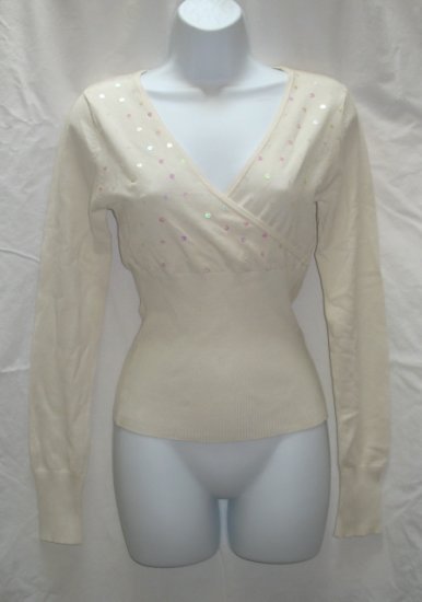 SAY WHAT Juniors Off White Sequin Wrap Bodice Sweater L 11 13 NEW