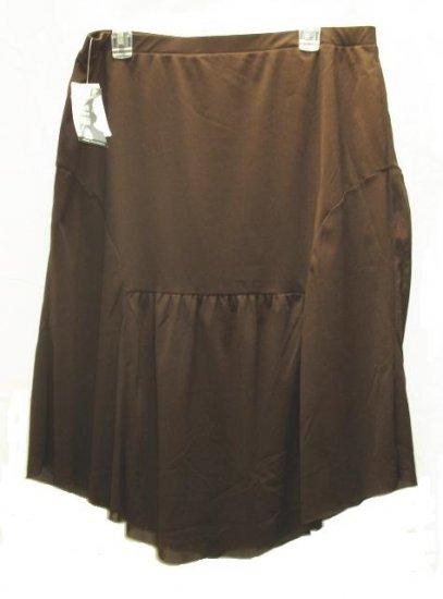 WORK WEEKEND Womens Brown Mesh Knee Skirt XL 16 18 NEW