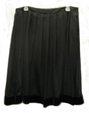 NICOLE MILLER Womens Black Pleated Velvet Trim Holiday Skirt 8 NEW