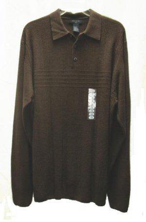 DOCKERS Mens Big Tall Brown LS Sweater L NEW