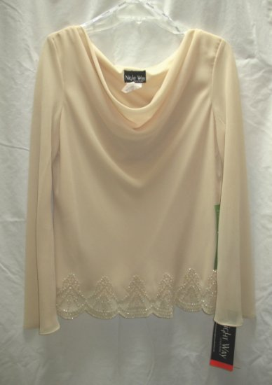 NIGHTWAY Separates Womens Cream Formal Top L 12 14 NEW