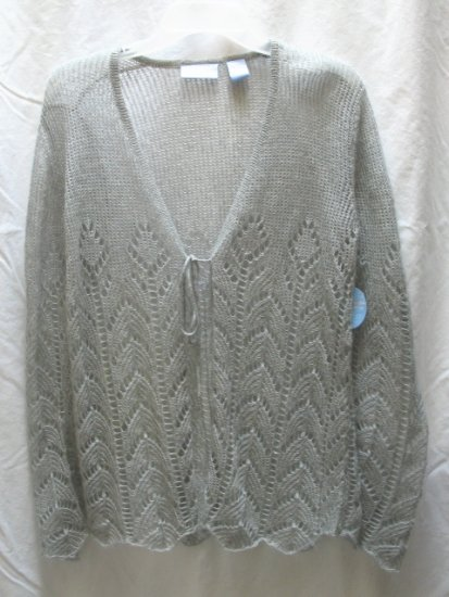 SOON TO BE Gray Loose Knit Mohair Maternity Cardigan Sweater S 4 6 NEW