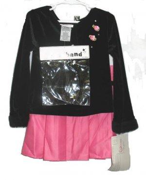 YOUNGLAND Girls 3pc Velour Top Pink Satin Skirt 6 NEW