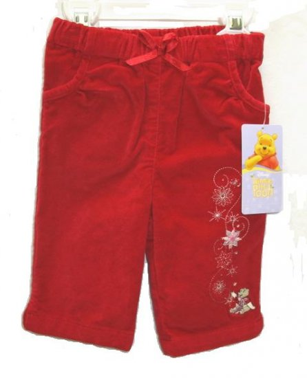 DISNEY Winne The Pooh Girls Red Velvet Holiday Pants 3 6 Mo NEW
