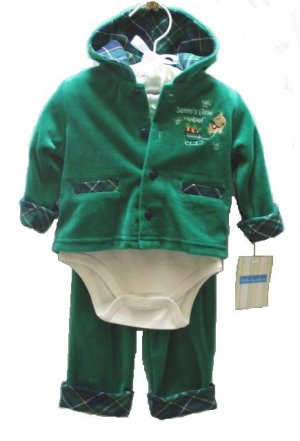 LITTLE WONDERS Boys Green Velour Holiday Santa 3pc Outfit Set 0 3 Mo NEW